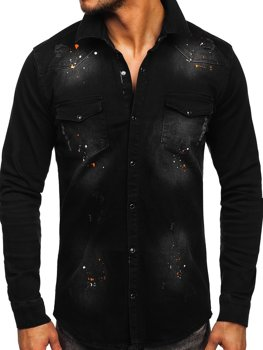 Czarna koszula męska jeansowa z długim rękawem Denley R706