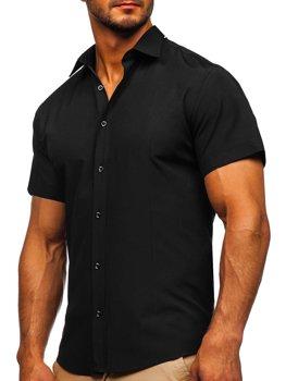 Czarna koszula męska z krótkim rękawem Bolf 17501