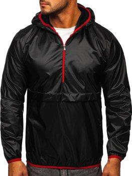 Czarna przejściowa kurtka męska sportowa anorak z kapturem BOLF 5061