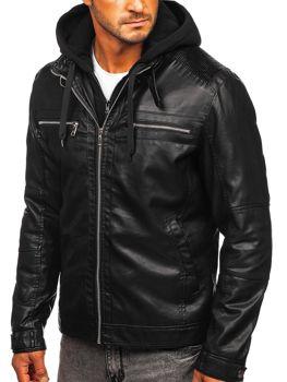 Czarna skórzana kurtka męska z kapturem Denley 1171