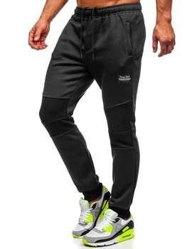 Czarne dresowe spodnie męskie Denley KS2231