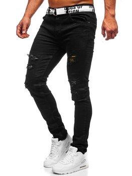 Czarne jeansowe spodnie męskie slim fit z paskiem Denley 60014WO