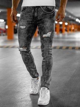 Czarne jeansowe spodnie męskie slim fit z paskiem Denley 6038S0