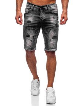 Czarne krótkie spodenki jeansowe męskie Denley 3013