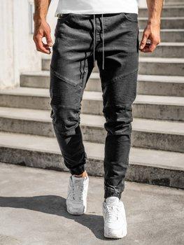 Czarne spodnie jeansowe joggery męskie Denley 61016W0