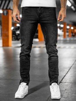 Czarne spodnie jeansowe męskie regular fit Denley K8863