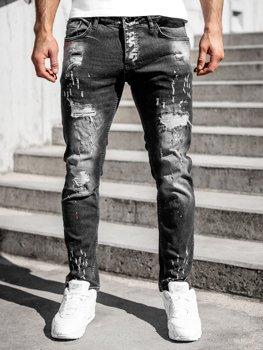 Czarne spodnie jeansowe męskie regular fit Denley R912