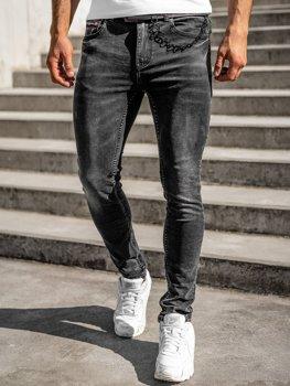 Czarne spodnie jeansowe męskie regular fit z paskiem Denley 60022W0