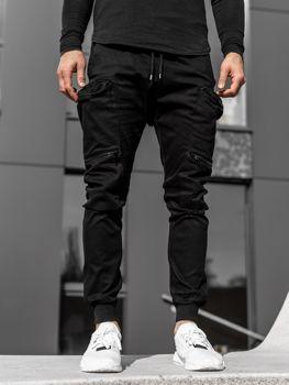 Czarne spodnie joggery bojówki męskie Bolf 0475
