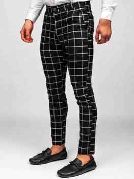 Czarne spodnie materiałowe chinosy w kratę męskie Denley 0002