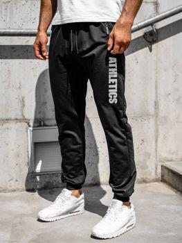Czarne spodnie męskie dresowe Denley CE010