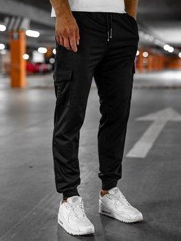 Czarne spodnie męskie dresowe Denley JX326