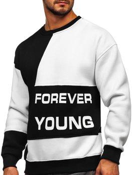 Czarno-biała z nadrukiem Forever Young bluza męska bez kaptura Denley 0003