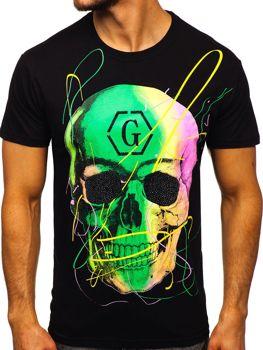 Czarny T-shirt męski z nadrukiem Denley KS2107