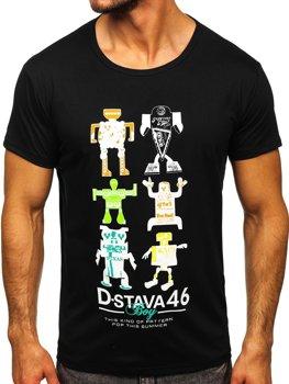 Czarny T-shirt męski z nadrukiem Denley KS2360