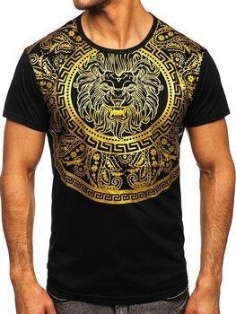 Czarny T-shirt męski z nadrukiem Denley KS2389