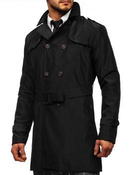 Czarny dwurzędowy płaszcz męski prochowiec z wysokim kołnierzem i paskiem Denley 0001