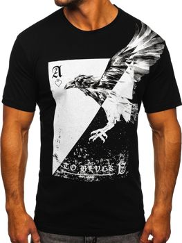 Czarny t-shirt męski z nadrukiem Bolf 142171