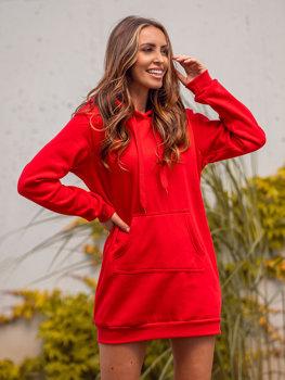 Czerwona długa bluza damska z kapturem Denley YS10003