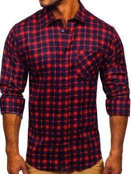 Czerwona koszula męska flanelowa z długim rękawem Denley F9