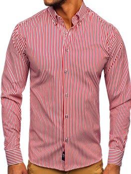 Czerwona koszula męska w paski z długim rękawem Bolf 20726