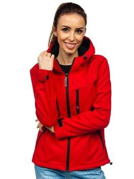 Czerwona kurtka damska przejściowa softshell Denley KSW6004