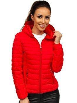Czerwona pikowana kurtka damska przejściowa Denley B0101
