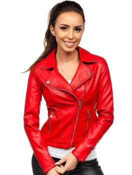 Czerwona ramoneska kurtka skórzana damska Denley 6703