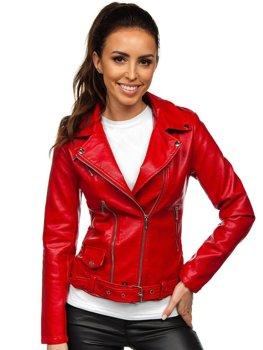 Czerwona ramoneska kurtka skórzana damska Denley R16