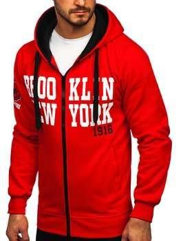 Czerwona z nadrukiem bluza męska z kapturem rozpinana Denley Y10050