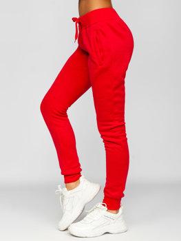 Czerwone spodnie dresowe damskie Denley CK-01