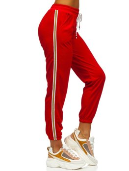 Czerwone spodnie dresowe damskie Denley YW01020B