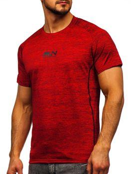 Czerwony T-shirt treningowy męski z nadrukiem Denley KS2101