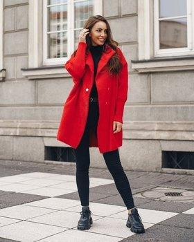 Czerwony płaszcz damski Denley 7118-1