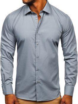 Grafitowa koszula męska elegancka z długim rękawem Denley SM7