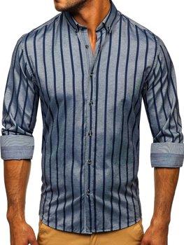 Grafitowa koszula męska w paski z długim rękawem Bolf 20705