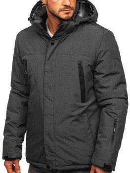 Grafitowa narciarska kurtka męska zimowa sportowa Denley 9801
