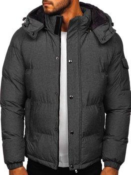 Grafitowa pikowana kurtka męska zimowa Denley 1166