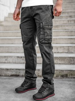 Grafitowe spodnie bojówki męskie z paskiem Denley CT8903