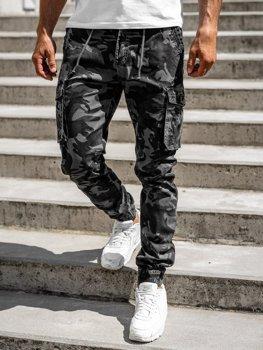 Grafitowe spodnie joggery bojówki męskie Denley CT6019