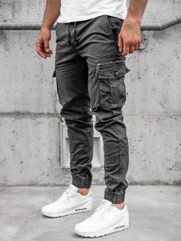 Grafitowe spodnie joggery bojówki męskie Denley CT6702