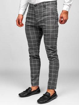 Grafitowe spodnie materiałowe chinosy w kratę męskie Denley 0002