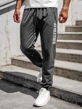 Grafitowe spodnie męskie dresowe Denley CE010