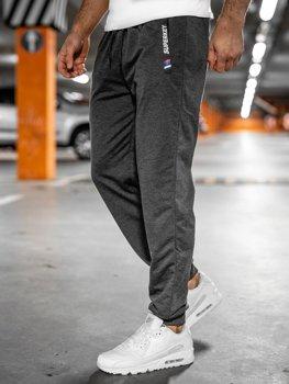 Grafitowe spodnie męskie dresowe Denley JX1029