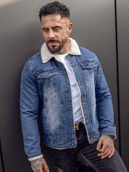 Granatowa jeansowa kurtka przejściowa męska Denley 1153