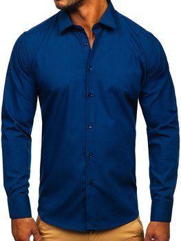 Granatowa koszula męska elegancka z długim rękawem Denley SM16