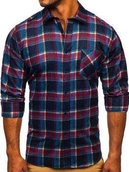 Granatowa koszula męska flanelowa z długim rękawem Denley F9-1