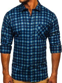 Granatowa koszula męska flanelowa z długim rękawem Denley F9