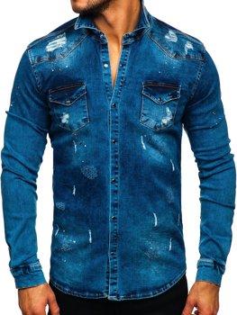 Granatowa koszula męska jeansowa z długim rękawem Denley R800