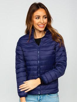 Granatowa pikowana kurtka damska przejściowa Denley 1141